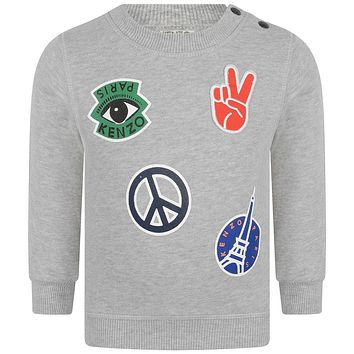 Kenzo Boys Grey Colorful Patched Sweater