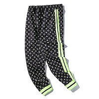 LV fashion couples casual pants hot selling color contrast color pants with small feet #2