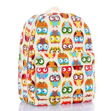 CREYUG3 Cats Canvas Lovely Owl Cute Backpack = 4887736772