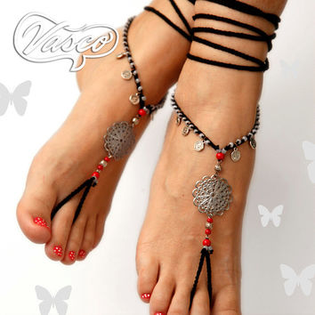 Barefoot Sandals. Bellydance Shoes. Black Silver Barefoot Sandals
