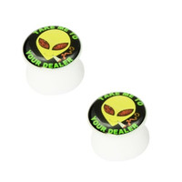 Kadima Body Piercing Jewelry One Pair (2pcs) White Acrylic Alien Face Flared Saddle Ear Plugs - 2G(6MM)