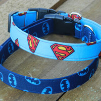Small/Medium Batman and Superman Collar Two Pack