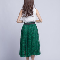 Jade Green Lace Skirt Summer Women Midi Skirt  (108)