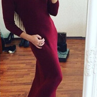 Slim Plain Maxi Dress