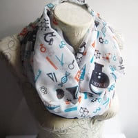 Colorful Science İnfinity Scarf , Chemistry Scarf , Atom Printed Scarf , Molecule Printed Scarf