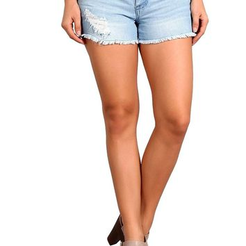 Celebrity Pink Women's Low Rise Destroyed Jeans Shorts with Frayed Hem