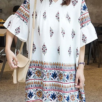 V-Neck Abstract Printed Frilled Sleeve A-Line Dress