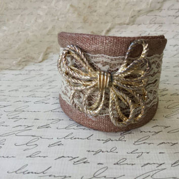 Gold Bow Bracelet Wide Cuff Bracelet Lace Cuff Bracelet Christmas Gift Jewelry Repurposed Vintage Jewelry Shabby Chic Jewelry Rustic Jewelry