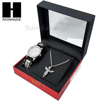 MEN TECHNO PAVE WATCH & ANGEL PENDANT ROPE CHAIN NECKLACE GIFT SET SS77