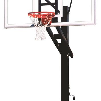 First Team Stainless Olympian Supreme In Ground Adjustable Outdoor Basketball Hoop 72 inch Acrylic