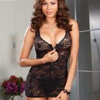 Plus Size Zip Tease Chemise and Thong
