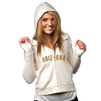 All Sport Couture Arizona Cardinals Ladies Play Action Full Zip Hoodie - Cream