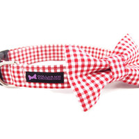 Red Gingham Dog Collar Bow Tie Set
