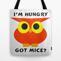 Hungry Red Owl Tote Bag by EML - CircusValley