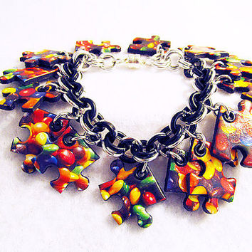 M&M puzzle pieces on black and silver Chain maille Bracelet or Anklet