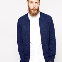 ASOS Lambswool Rich Bomber Cardigan - Denim