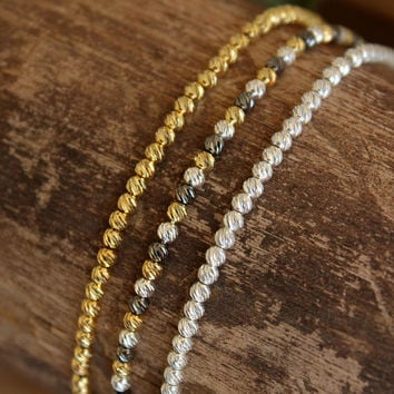 Thin Gold Bracelet / Silver Bracelet / Ball Bracelet / Beaded Bracelet / Stacking Bracelet / Layering Bracelet / Dainty Everyday Bracelet