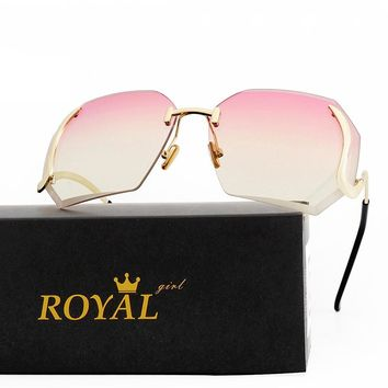 ROYAL GIRL Unique Rimless Women Sunglasses Butterfly Retro Overisize Bent temple UV400 Glasses ss149
