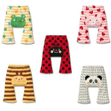 Hooyi Baby Boys Pants Stripe Newborn PP Panties Baby Clothes Long Trouser Cotton Leg Warmer Girl Tights Bee Ladybug Panda Frog