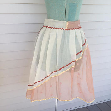 Pretty Organza Apron, Feminine, Sheer Half Apron, Peach and Ivory, Vintage Housewife
