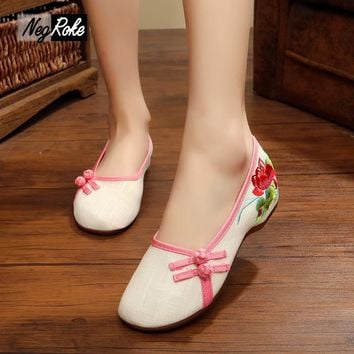 Casual Fashion designer flats shoes women sapato sexy feminino ladies chinese embroidered shoes loafers oxford shoes for women