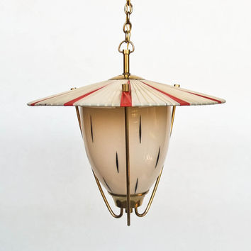 Vintage Pendant Lamp / Chandelier / Red & White / Ribbons / 50's Italy / Brass