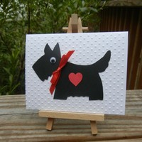 Scottie Dog Note Cards (Pair of 2 Notecards) Blank Inside, White Envelopes Included