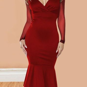 Burgundy Patchwork Grenadine Mermaid Deep V-neck Bodycon Cocktail Banquet Party Midi Dress