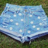 High Waisted Denim Shorts Ripped Distressed Floral Daisy dukes Lace shorts Hipster cutoffs by Jeansonly