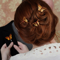 Fall Wedding Hair Pins CUSTOM 3 Silk Origami Butterflies 100 COLORS Autumn Wedding Updo Hairstyle Warm Copper Pale Orange SMALL size