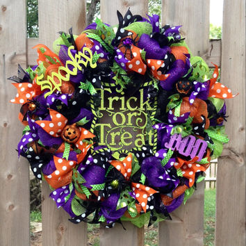 Trick or treat Halloween wreath, purple orange black wreath, halloween front door wreath