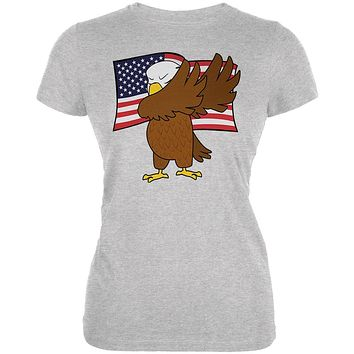 4th Of July America Dabbing Bald Eagle Juniors Soft T Shirt