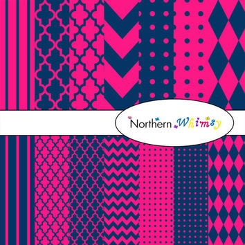Digital Scrapbooking Set –  Navy Blue & Hot Pink paper in stripes, chevron, polka dot, stripe, harlequin, and quatrefoil  INSTANT DOWNLOAD