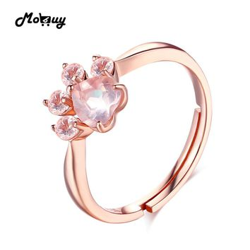 MoBuy MBRI027 Animal Clam Pink Natural Gemstone Rose Quartz Rings 925 Sterling Silver Rose Gold Plated Fine Jewelry For Women