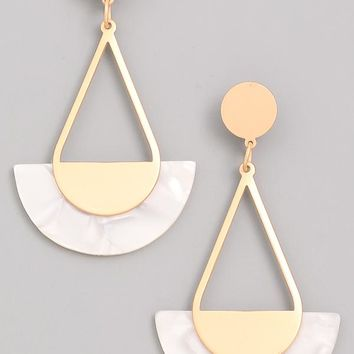 Gold Dangle Acrylic Earrings - White