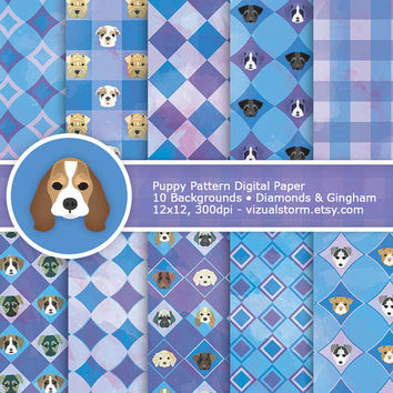 Puppy Patterns Digital Paper - Gingham & Diamonds, blue and purple printable backgrounds, 10 handmade dog craft papers, Buy 2 Get 1 Free