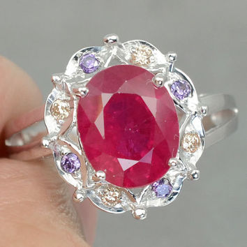 Delightful Red Ruby  with Purple Amethyst & Champagne Topaz