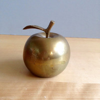 Vintage Brass Apple Bell  / Vintage Home Decor / Teacher Gift / Antique Brass Bell