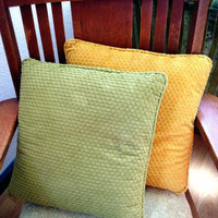 Pair of Vintage Chenille Pillows, Yellow and Green,