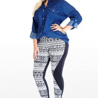 Plus Size Aztec Contrast Leggings | Fashion To Figure