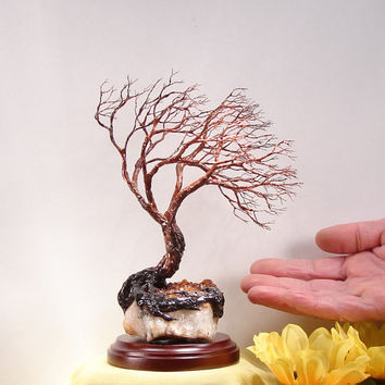 Wire Tree Of Life, metal tree artwork, amber yellow Citrine, unique home decor gift, home decor art, housewarming gift idea, Spring, 6""