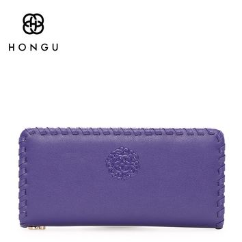 HONGU Natural Long Genuine Cow Leather Bags Women Wallets Purse Card Wrist Bag Passport Holder Zipper Coin Pocket Multi-function
