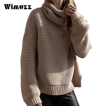 Wimuzz Turtleneck Sweater for Women Loose Plus Size Pull Femme Autumn and Winter Knitted Jumper Oversized Sweaters