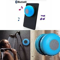 MEMTEQ® Wireless Bluetooth V3.0 + EDR Speaker, Waterproof Shower Speaker, Hand-free Speakerphone with Built-in Mic and Suction Cup - Blue