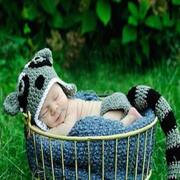 Raccoon Hat Outfit Newborn Baby Prop - CCC221