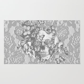 Ashes to Ashes lace skull Area & Throw Rug by Kristy Patterson Design