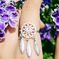 Dreamcatcher Unique Simple Silver Ring + Beautiful Gift Box