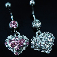 New Charming Dangle Crystal Navel Belly Ring Bling Barbell Button Ring Piercing Body Jewelry = 4804933700
