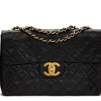 CHANEL BLACK QUILTED LAMBSKIN VINTAGE MAXI JUMBO XL FLAP BAG HB1039