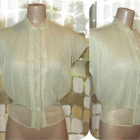 Vintage 40s Blouse | 1940s Yellow Sheer Blouse | Early 50s Top | Pintucked Nylon Chiffon | Fitted Waist | Sz 40 XL